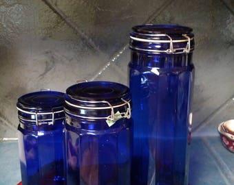 Cobalt Blue Cannisters