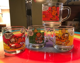 Four Vintage Garfield Coffee Mugs for McDonald's from 1978