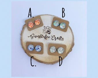 Round Floral Cabochon Stud Earrings