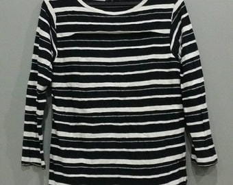 Vintage Y's Yohji Yamamoto Striped Long Sleeve T Shirt Japan Top Fashion Designer