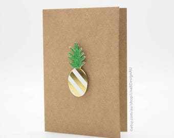 Customisable Card | Mini Card | Handmade Card | Pineapple Card | 3D Sticker | Kraft Card | Fruit Stickers | Cute Stickers | GCHCM02