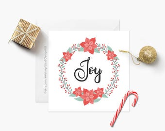 Joy Christmas Card - Red OR Blue | Christmas Wreath | Christmas Greeting | Seasonal Card | Holiday Card | Poinsettias | GCXCA608