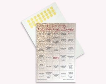 Wedding Bingo 2 Grooms Edition: 100-Card Printed Set with Gold Stickers for Marking Squares (LGBT)