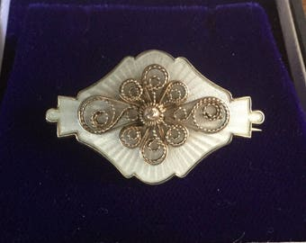 Guilloche enamel and silver brooch by Ivar T Holth of Norway
