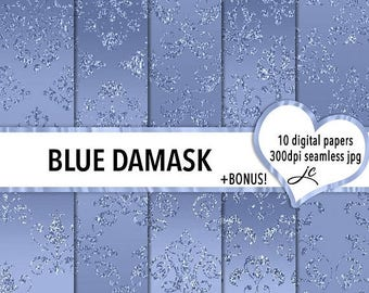 SALE Blue Damask Digital Papers + BONUS Photoshop Pattern File, Seamless, Textures, Backgrounds, Clipart, Personal & Commercial Use