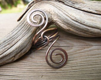 copper wire wrapped ring, viking jewelry woman, spiral ring, statement ring, viking ring, gift for women, copper jewelry, wire wrap jewelry