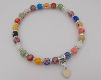 Millefiori Beaded Bracelet With Heart Charm.