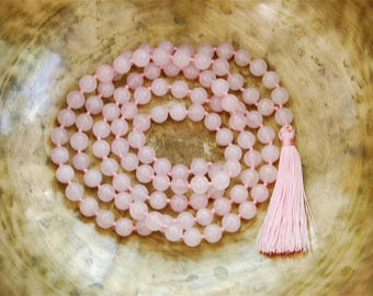 Rose Quartz Mala beads, 108 Mala Bead, Mala Necklace, Prayer Beads, Yoga Jewelry, Japa Mala, Meditation, Rose Quartz Necklace