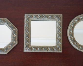 Small Vintage Ornate Mirrors - set of 3