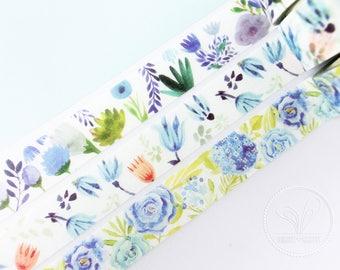 Blue Floral Washi Masking Tape - Planner, Scrapbook, Craft