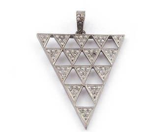 50% off 1 Pc Pave Diamond Trillion With Cutout Trillion Pendant - 925 Sterling Silver - Diamond Antique Finish Pendant 45mmx35mm PDJ008