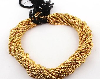 50% off 5 Strands Gold Pyrite 3mm Faceted Center Drill Rondelles, Gold Pyrite Gemstone Beads 17 Inches Long GR030