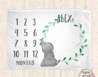 Monthly Milestone Blanket - Personalized Baby Blanket - Milestone Blanket - Elephant Baby Blanket - Baby Blanket - Baby Shower Gifts - Minky