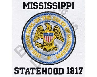 State Seal - Machine Embroidery Design, Mississippi State Seal, Mississippi Statehood