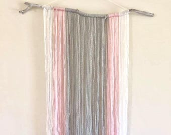 Girls room wall hanging, pink and grey wall hanging, girls room, yarn wall hanging, baby shower gift,