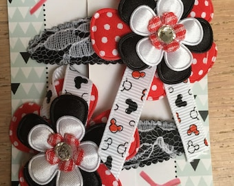 Ribbon flower hair pins with Mickey Mousse