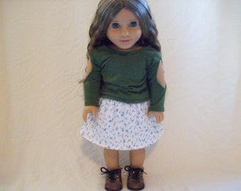 Floral Skirt and Long Sleeve Shirt for American Girl Dolls