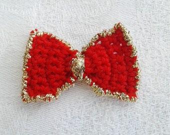lot de 3 noeuds papillons  rouge et doré