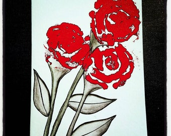 """Hand drawn & Hand painted Note cards. """"Terah - Brights"""" Red. Pair of 5x7 cards with Envelopes. Free shipping!"""