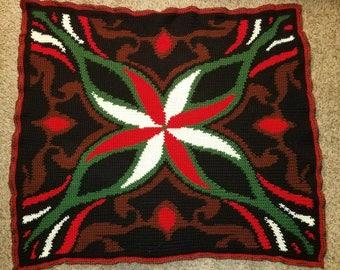 Christmas Poinsettia Inspired Afghan/Blanket
