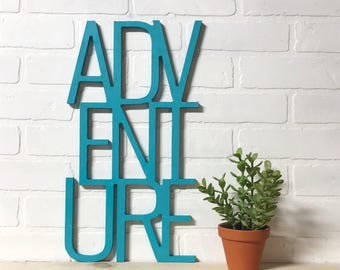 ADVENTURE Explorer Wall Art Wood Word Cut Out Kids Bedroom Decor
