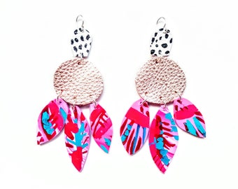 Abstract earrings/ Polymer clay earrings/ Hand painted earrings/leather earrings/ Statement earrings/ drop earrings