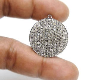 Fashion statement pave diamond 25mm round disc charm pendant in sterling silver