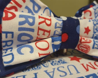 Polka Dot Red, White & Blue Bow Tie