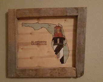 Wooden Picture of St Augustine Lighthouse