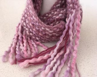 Scarf, Soft, Mixed Yarns in Pink