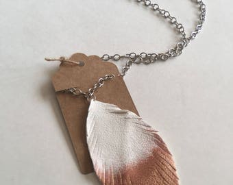 Rose gold dipped leather feather necklace