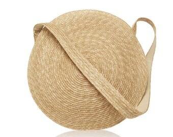 Circle Straw Bag, Messenger Travel Handbag, Large Beach Crossbody Purse, Samuji Inspired Circle Handbag