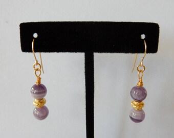 Genuine Amethyst & Gold Earrings