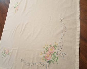 Smaller antique linen hand embroidery pink flowers
