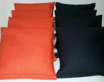 Set Of 8 Black & Orange Cornhole Bean Bags