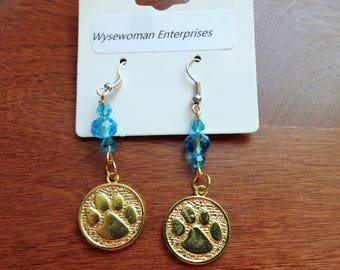 Goldtone Pawprint Earrings with Aqua Crystals//pet//dog//cat//rescue//adopt//puppy//kitten//crystal//surgical steel