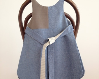 pinafore smock style handmade dress - fabric items of new and vintage fibres