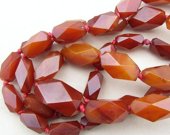 Art Deco Geometric Faceted Cherry Amber Bakelite Necklace