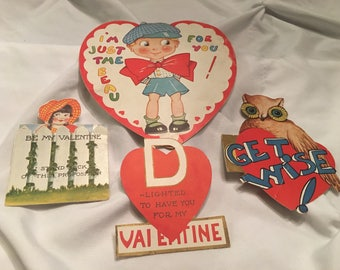 Vintage children's valentine greeting cards