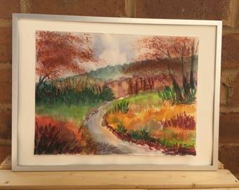 Original watercolor autumn landscape painting