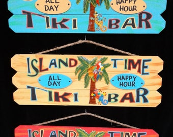 Island Time Tiki Bar Outdoor party bar sign
