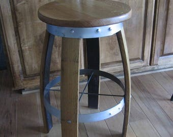 Wine Barrel Bar Stools, Vintage Barrel Furniture, Napa Valley Barrels, Custom Built Stools, Oak Furniture