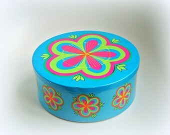Ira Denmark Anita Wangel turquoise 19cm vintage tin container - flower power seventies colorful - '70s - retro