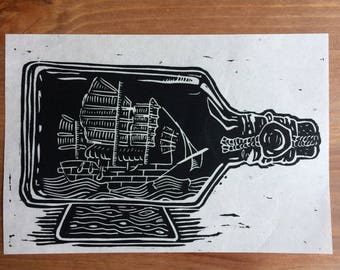 Black Bottle | Linocut print