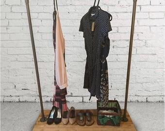 Black Steel Industrial Clothing Rack
