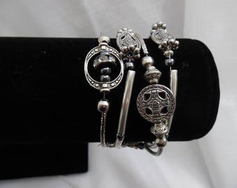 4-Strand Silvertone Bracelet