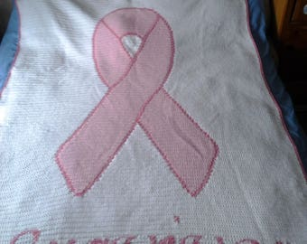 Crocheted Breast Cancer Survivor Blanket