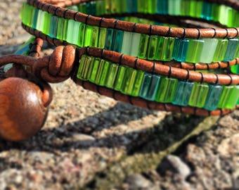 Balance Leather Double Wrap Bracelet