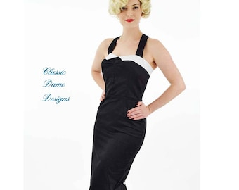 Black Pencil Dress-50s Style Bombshell Pin Up Dress-Stretch Cotton Sateen-50s Inspired-Wiggle-Curve Hugging-Polka Dot-Buttons-Halter