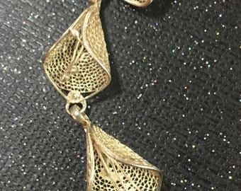 Vintage Sterlig Silver Filigree Flower Lillies Bracelet